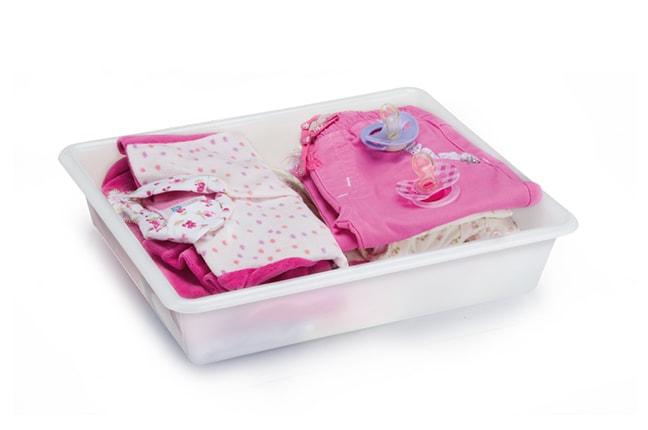 Bandeja Plástica para organizar roupas infantis