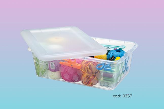 Guardar itens de costura em potes plásticos